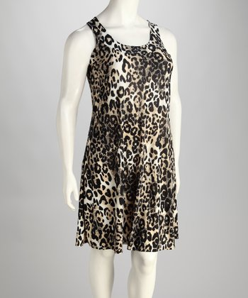 Black & Yellow Leopard Sleeveless Dress - Plus
