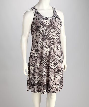 Gray & Black Leopard Sleeveless Dress - Plus