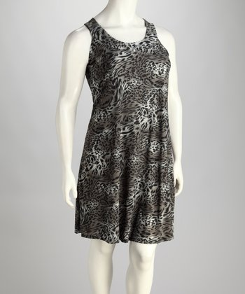 Gray Leopard Sleeveless Dress - Plus