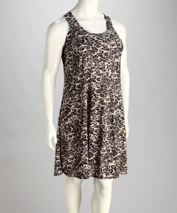 Taupe & Black Animal Sleeveless Dress - Plus
