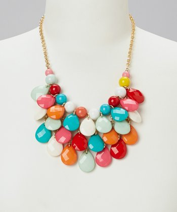 Blue Rainbow Teardrop Bib Necklace
