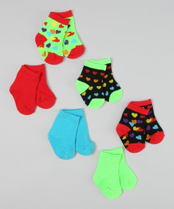 Red & Green Heart Socks Set