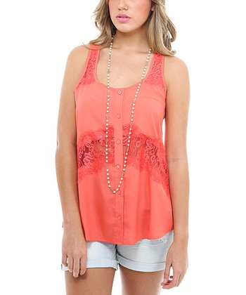 Coral Lace Cutout Top