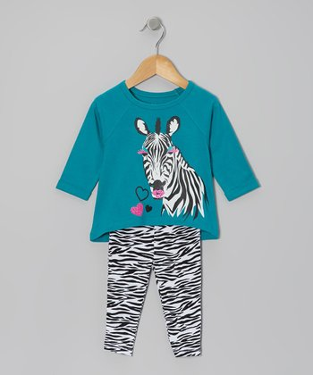 Turquoise & Black Zebra Tunic & Leggings - Infant & Toddler