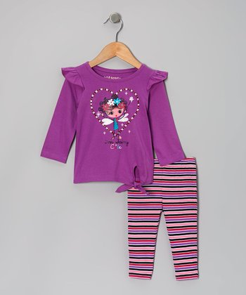 Purple 'I'm Fairy Cute' Tie-Front Tunic & Stripe Leggings - Infant & Toddler