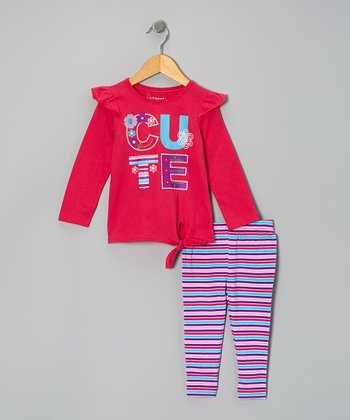 Dark Pink 'Cute' Tie-Front Tunic & Stripe Leggings - Infant & Toddler