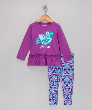 Purple 'Peace' Tunic & Paisley Leggings - Girls