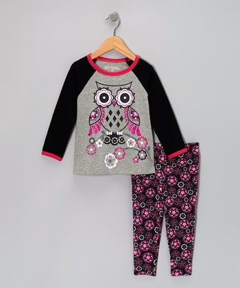 Gray Owl Raglan Tee & Floral Leggings - Girls