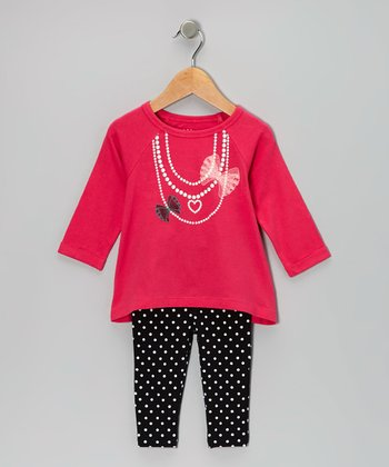 Dark Pink Pearl Necklace Tunic & Black Dot Leggings - Infant & Toddler