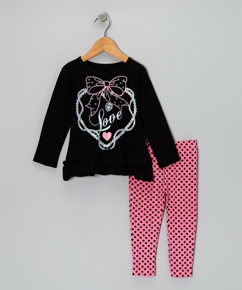 Black 'Love' Tunic & Pink Leggings - Girls
