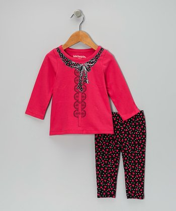 Pink Faux Scarf Tunic & Black Leggings - Girls