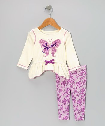 White 'Sweet' Tunic & Purple Leggings - Girls