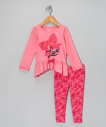 Pink 'Love' Bow Tunic & Floral Leggings - Girls