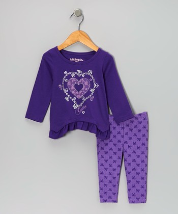 Purple Heart Ruffle Tunic & Bow Leggings - Infant & Toddler