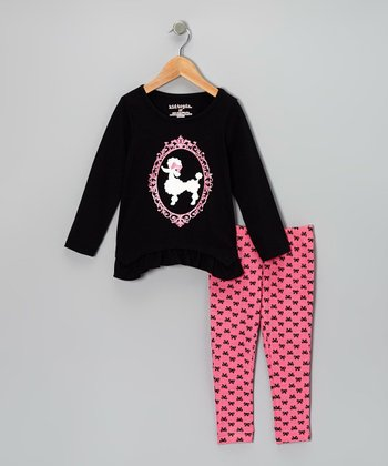 Black Poodle Ruffle Tunic & Light Pink Bow Leggings - Infant & Toddler