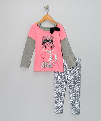 Pink 'Star' Layered Top & Gray Leopard Leggings - Infant & Toddler