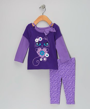 Purple Heart Kitty Layered Top & Leopard Leggings - Infant & Toddler