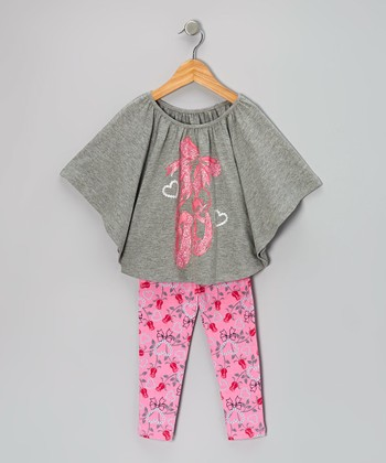 Gray & Pink Ballet Cape-Sleeve Top & Leggings - Girls
