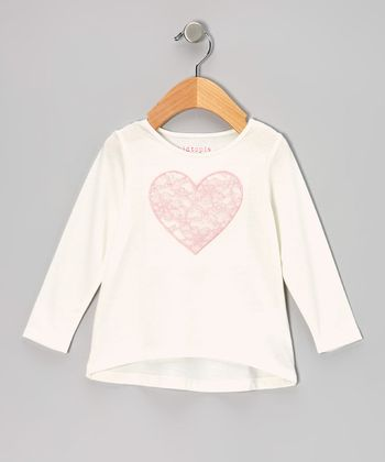Ivory Lace Heart Long-Sleeve Tee - Infant, Toddler & Girls