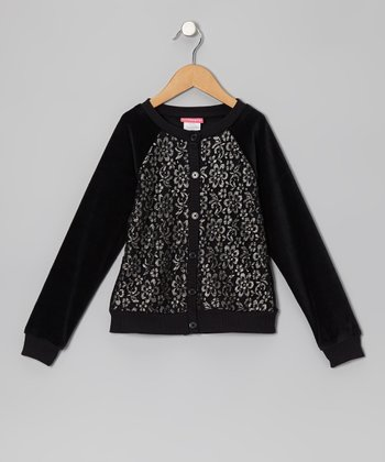 Black Lace-Front Cardigan - Infant, Toddler & Girls