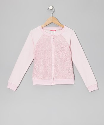 Light Pink Lace-Front Cardigan - Infant, Toddler & Girls