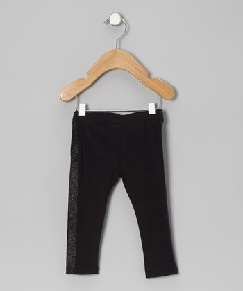 Black Glitter Stripe Leggings - Infant & Girls