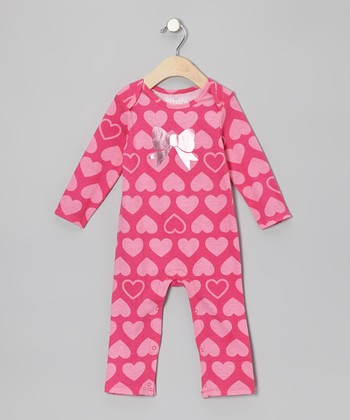 Dark Pink Heart Playsuit - Infant