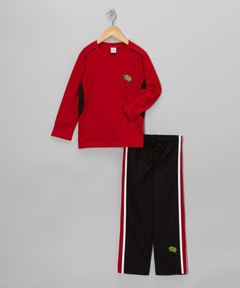 Red Tee & Black Track Pants - Toddler & Boys