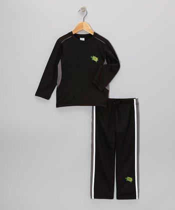Black & Gray Tee & Track Pants - Toddler & Boys