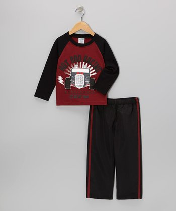 Red Hot Rod Raglan Tee & Black Track Pants - Boys