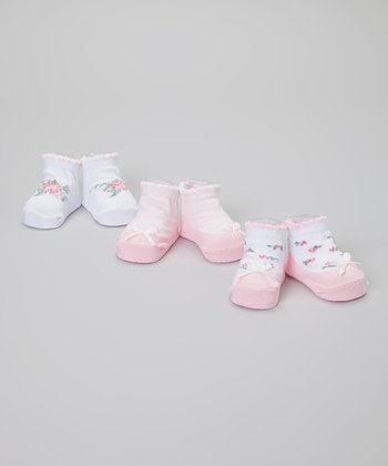 Pink & White Flower Bow Socks Set