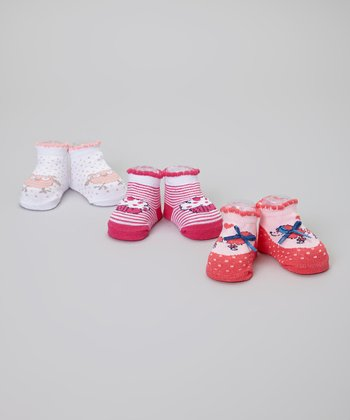 Pink & White Stripe Owl Socks Set