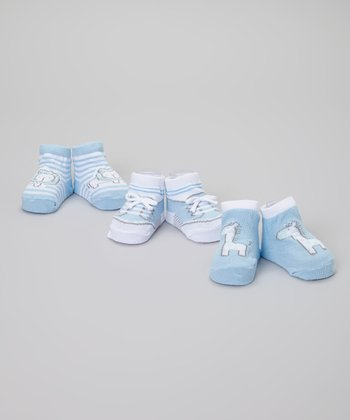 Blue & White Stripe Lion Socks Set