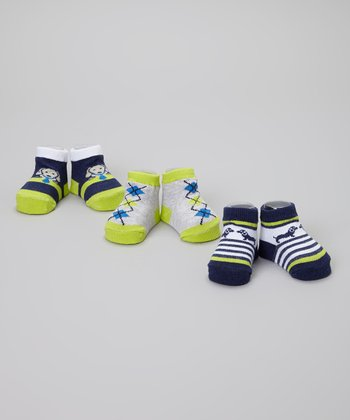 Navy & Green Argyle Puppy Socks Set