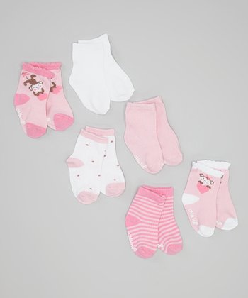 Pink & White Monkey Socks Set
