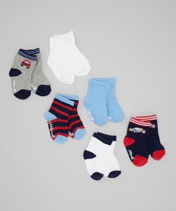 Blue & Red Stripe Tractor Socks Set