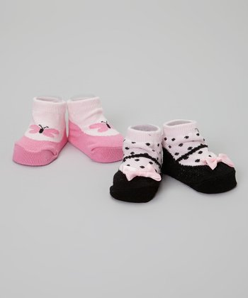 Pink & Black Polka Dot Butterfly Mary Jane Socks Set