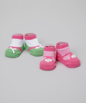Pink & Green Stripe Daisy Socks Set