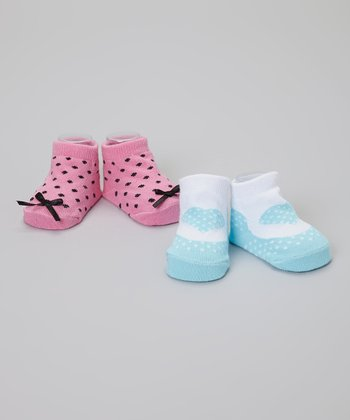 Blue & Pink Polka Dot Heart Socks Set
