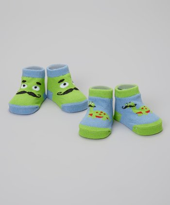 Green & Blue Mustache Dinosaur Socks Set