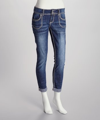 Medium Faded Wash Low-Rise Cropped Jeans