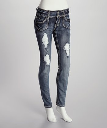 Medium Wash Detailed Skinny Jeans