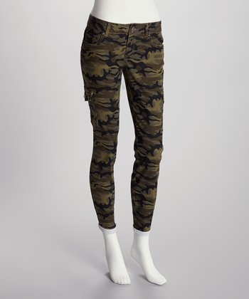 Evergreen Camo Cropped Straight Leg Pants