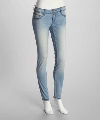 Light Faded Wash Zip-Fly Skinny Jeggings