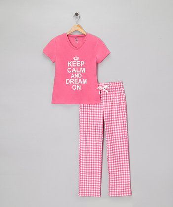Carnation 'Keep Calm' Pajama Set - Girls