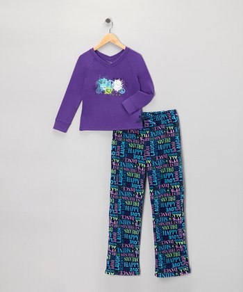 Purple Gem Pajama Set - Girls