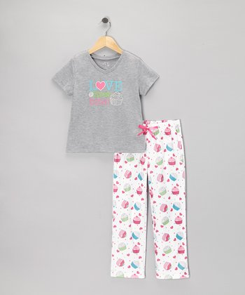 Gray & White Cupcake Pajama Set - Girls