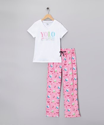 White & Pink 'YOLO' Cupcake Pajama Set - Girls