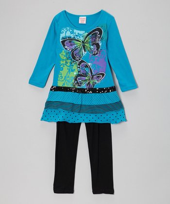 Teal Butterfly Tiered Tunic & Black Leggings - Toddler & Girls