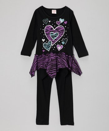 Black & Pink Heart Skirted Tunic & Leggings - Toddler & Girls